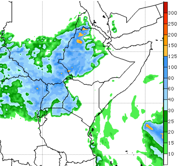 GFS rainfall forecast map of East Africa illustrating the amount of rainfall in mm the region received during the week of July 2, 2019.