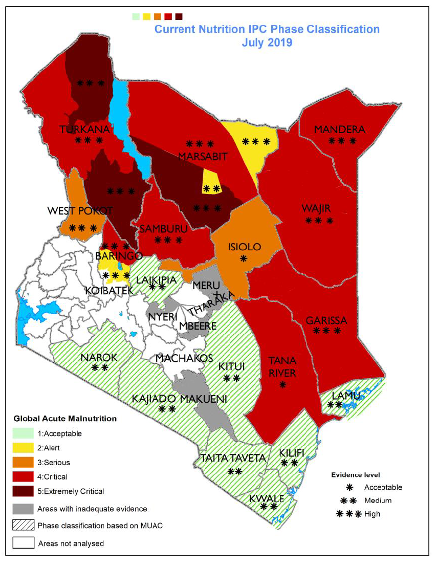 Map of nutrition IPC phase classification across Kenya