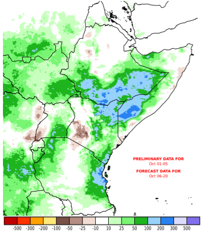 Rainfall anomaly map based on current cumulative rainfall totals for October 1st to 5th and the rainfall forecast through October 20th. positive rainfall anomalies are expected in many bimodal areas of the eastern Horn. However, localized rainfall deficits are likely in southern rift valley regions of Kenya and southwestern Uganda.
