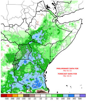 Map showing current and forecast rainfall anomalies in millimeters compared to the long-term average. Based on current and forecast conditions, rainfall performance in March is generally expected to above average in these areas.