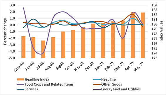 Graph showing monthly change in the Consumer Price Index, May 2019–May 2020