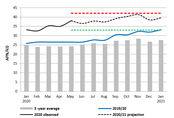 This is a graph showing that wheat flour prices are projected to increase between May 2020 and January 2021 and remain above both average levels and levels observed last year.