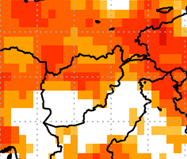 This map of Afghanistan shows orange and red colors covering the northern half of the country, indicating a high probability for above average temperatures.