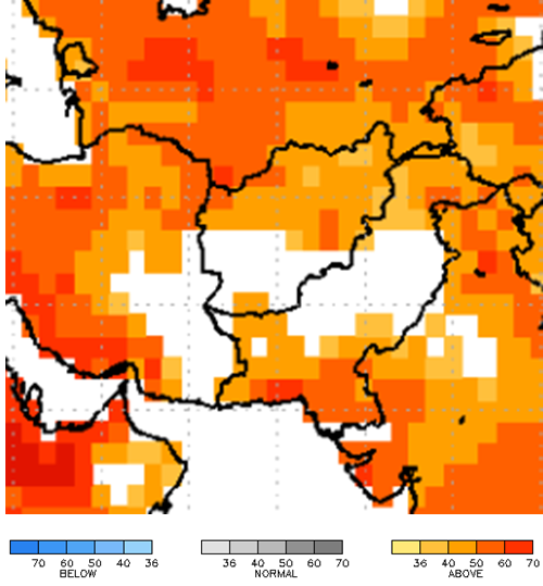 The North American Multi-Modal Ensemble 2-meter air temperature (⁰C) forecast for June – August with May initial conditions. There is a 40 to 60 percent chance of above average temperatures across northern Afghanistan.