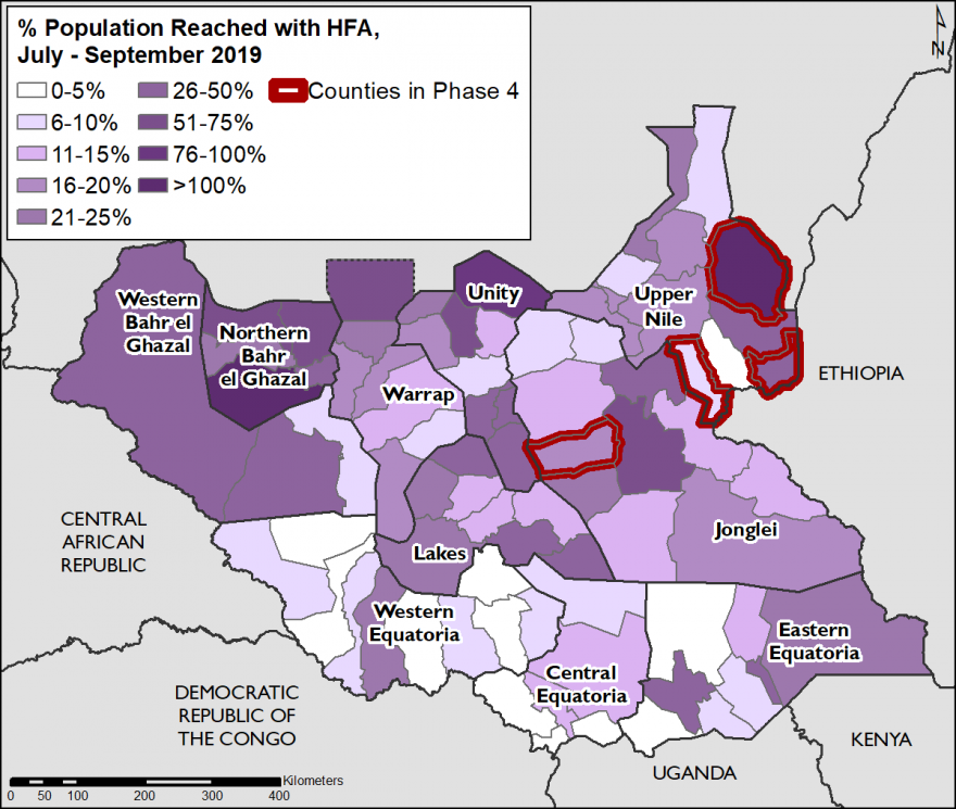 Map of South Sudan showing the percent of the population reached on average per month from July to September with food assistance. Counties in Phase 4, including Maban, Maiwut, Ulang, and Duk are outlined in red.