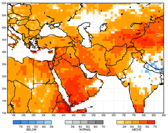 Dark Red to orange colors are over Afghanistan indicating a tendency to above average temperatures.