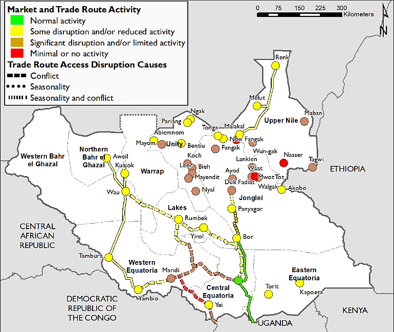 Map of South Sudan depicting market and trade route activity in Feburary. Most markets and trade routes have some disruption or reduced activity. Markets in Central Equatoria show the most significant disruptions. The road from Uganda to Bor is functioning normally.
