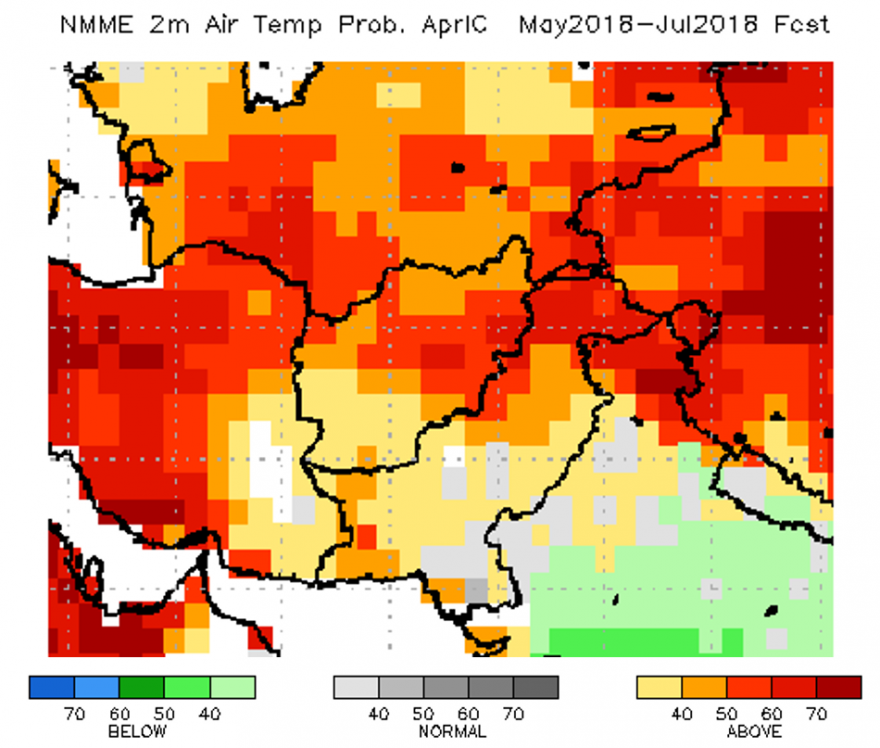 Temperature forecast (May – July) over Afghanistan.
