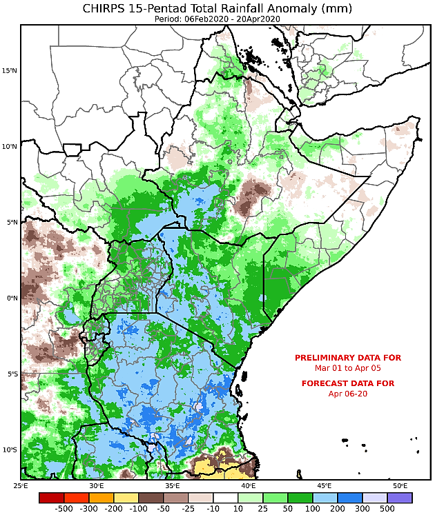 Map of the East Africa region depicting current and forecast cumulative rainfall as an anomaly in mm from the long-term average from March 1st through April 20th.