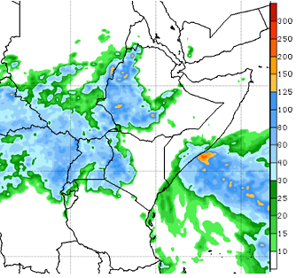 Map of East Africa and Yemen depicting the forecast rainfall in mm