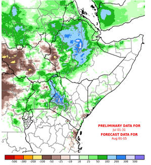 Map of East Africa showing current and forecast rainfall from June 1 to August 14 as an anomaly in mm compared to the long-term average