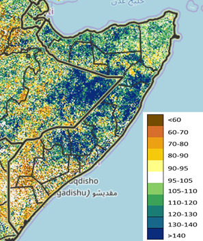 Map showing vegetation conditions in Somalia in late October