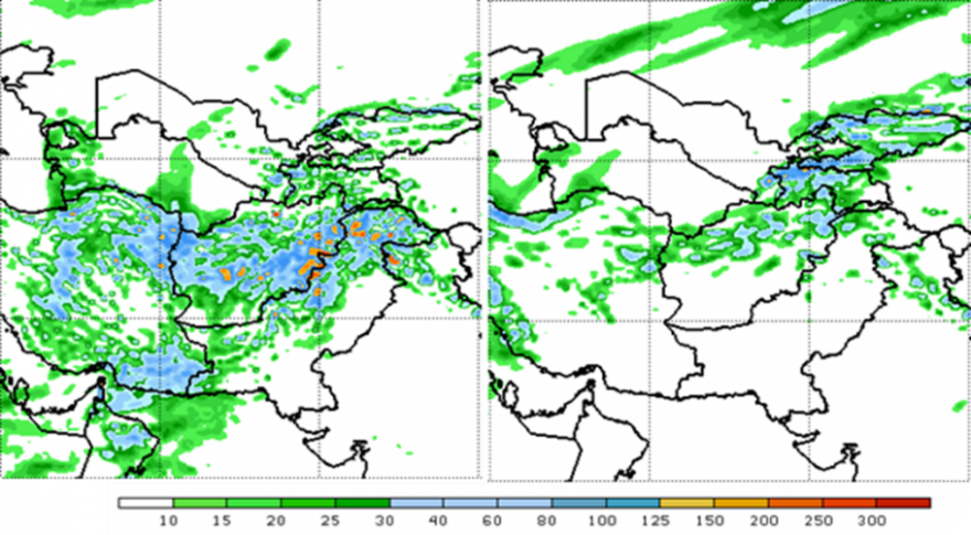 Figure 5. GFS 7-day forecast of total precipitation in mm for 7-day period ending on April 17 (left panel) and ending on April 24 of 2019 (right panel).
