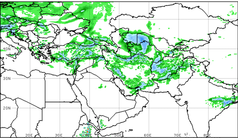 Figure 5 (a). Week 1 total precipitation in mm for the periods ending March 22, 2019 from the Global Forecast System