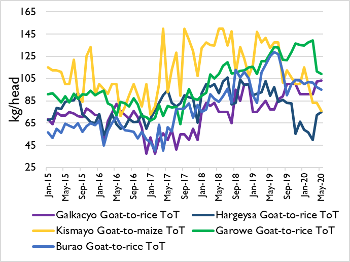 Chart showing the livestock to cereals terms of trade from January 2015 to May 2020 in Galkacyo, Hargeysa, Kismayo, Garowe, and Burao markets