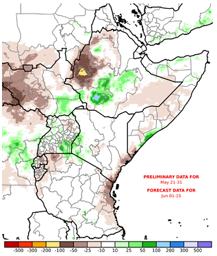 Map of East Africa and Yemen depicting the forecast rainfall anomaly in mm compared to the 1981-2018 average
