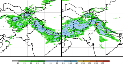 Week I (ending on February 11th on the left) and week II (ending on February 18th on the right) total precipitation in mm from the Global Forecast System.