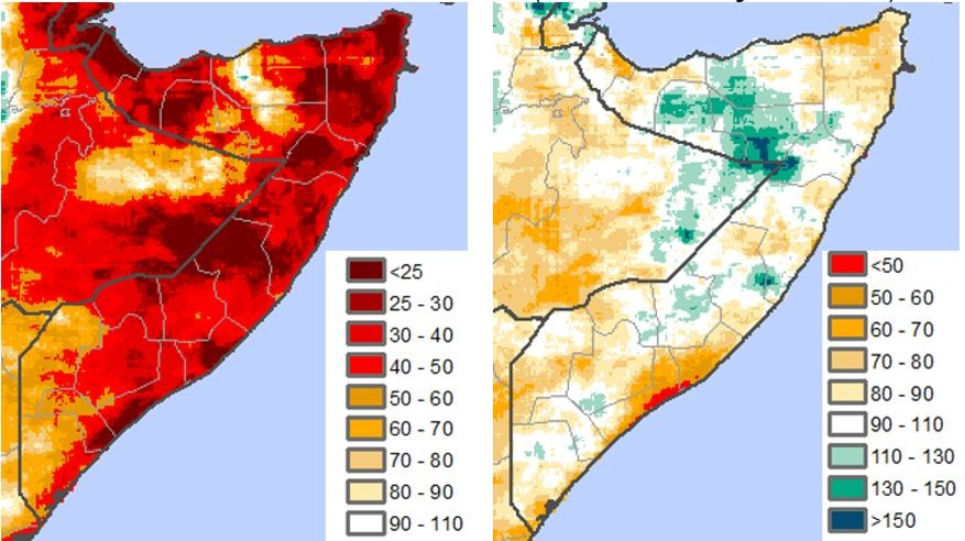 Widespread anomalies by April 30 showing rainfall less than 50 percent of normal across the country. By June 30 forecast rainfall anomalies will likely lessen to around 70-80 percent of normal across most of the country, with some above average rainfall in northern Somalia.