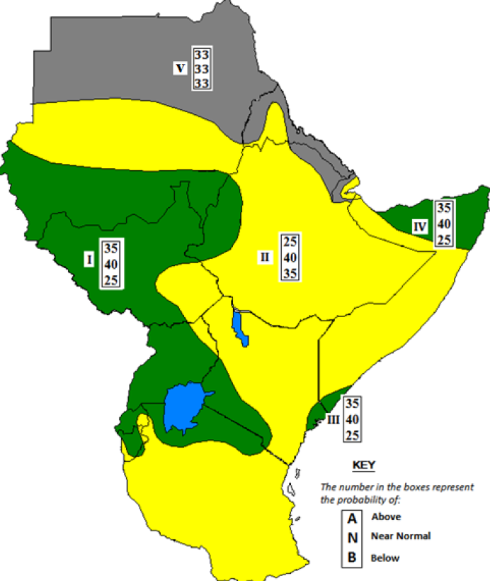Figure 1. 39th Greater Horn of Africa Climate Outlook Forum (GHACOF) consensus climate outlook for March to May 2015 rainfall
