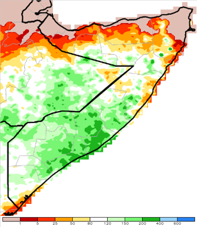 Figure 1. Cumulative rainfall as a percent of the 1981-to-2010 mean, African rainfall climatology-2 (ARC2) methodology