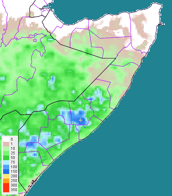 Figure 1. Estimated cumulative rainfall (RFE2) in millimeters (mm), April 11 to 20, 2015