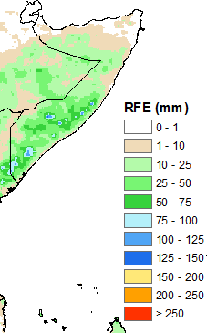 Figure 1. Estimated rainfall (RFE2) in millimeters (mm), April 21 to 30, 2015