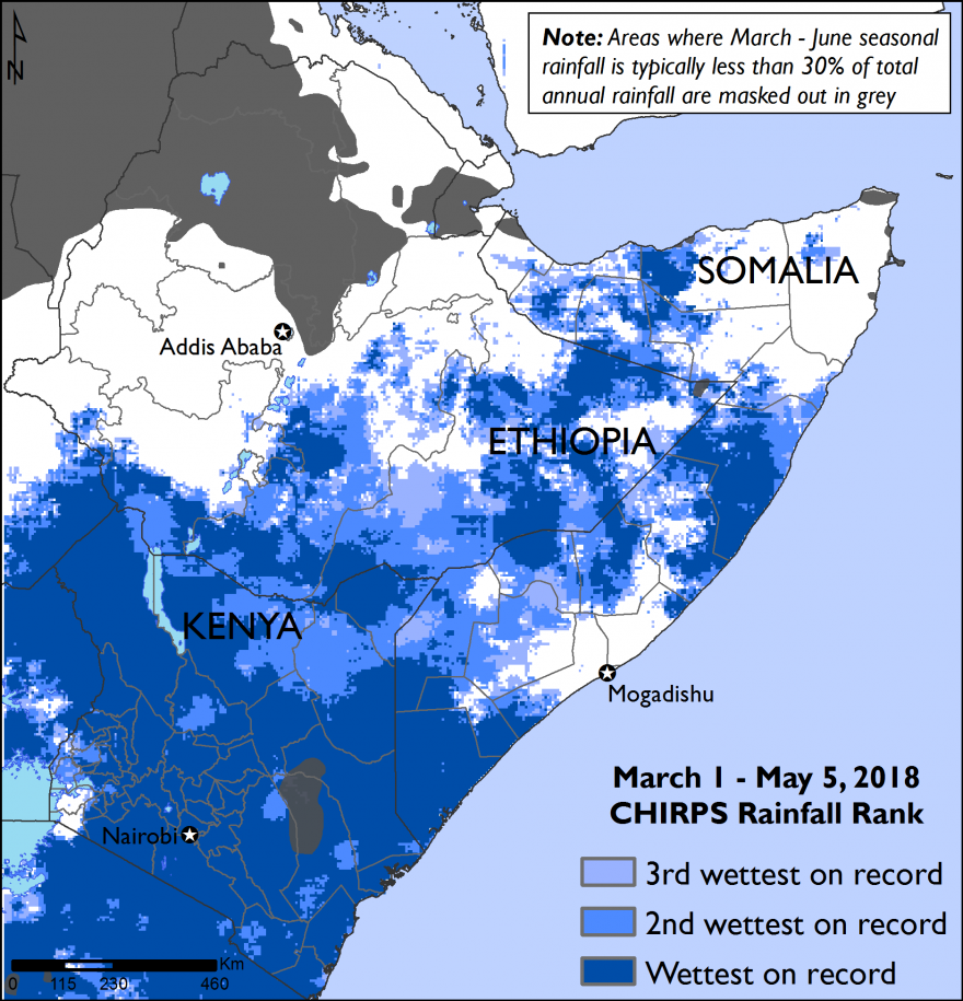 The map ranks this season's rainfall accumulation to date, relative to the historical record. It is the wettest on record across most of Kenya, lower and middle Juba of Somalia, and several areas of central Somalia and the Somali region of Ethiopia.