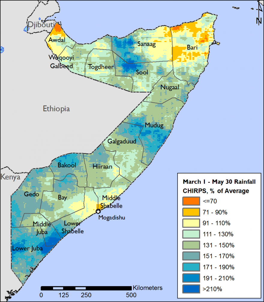 The map depicts rainfall compared to average. Rainfall was 110-190 percent of avrage in most of the country. Slight deficits, 70 to 90 percent of average, were recorded in parts of Bari and Awdal.