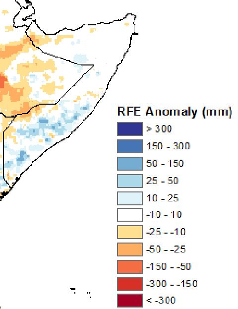 Figure 2: April 21 to 30, 2015 rainfall anomaly (RFE2) in mm from 2005-to-2009 mean