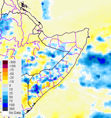 Figure 2: October 11-20, 2015 rainfall anomaly (RFE2) in mm from 2000-2014 mean