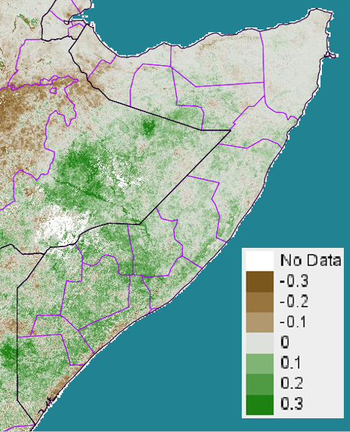 Figure 3. eMODIS Normalized Difference Vegetation Index (NDVI) anomaly from 2001-2010 mean, May 11-20, 2015