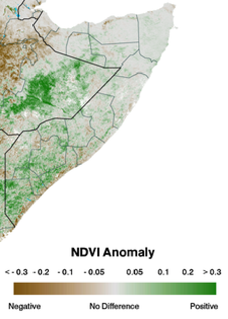 Figure 3. eMODIS Normalized Difference Vegetation Index (NDVI) anomaly from 2001-2010 mean, April  21to 30, 2015