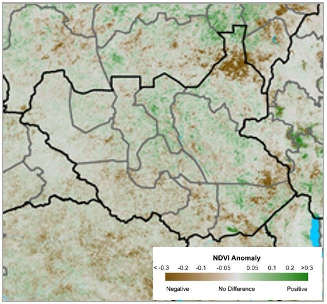 NDVI conditions are below average in many areas of the country, most notably in Upper Nile, Southern Jonglei, and across Greater Equatoria.