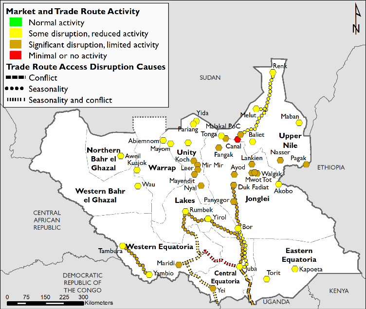 June 2019 market and trade functioning map illustrating market and trade route activity and trade route access disruption causes. Overall, significant disruption and limited activity, and some disruption and reduced activity was reported.