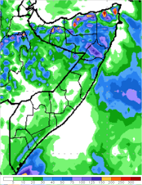 Figure 4.Global Forecast System (GFS) rainfall forecast in mm for May 25 to 31, 2015