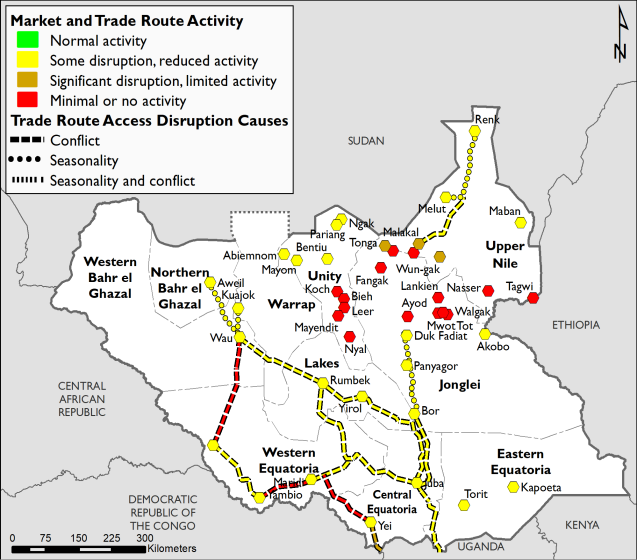 Most trade routes and markets are noted as some disruption, though Yei-Western Equatoria, and Western-Equatoria to Wau have minimal to no activity. Many markets in GUN are significantly disrupted or have minimal to no activity.