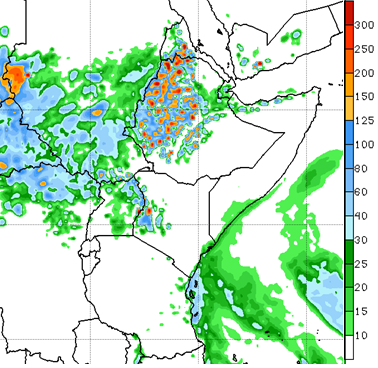 The short-term forecast indicates an intensification of rainfall over central and western Ethiopia, and large portions of Sudan, South Sudan, and Uganda.