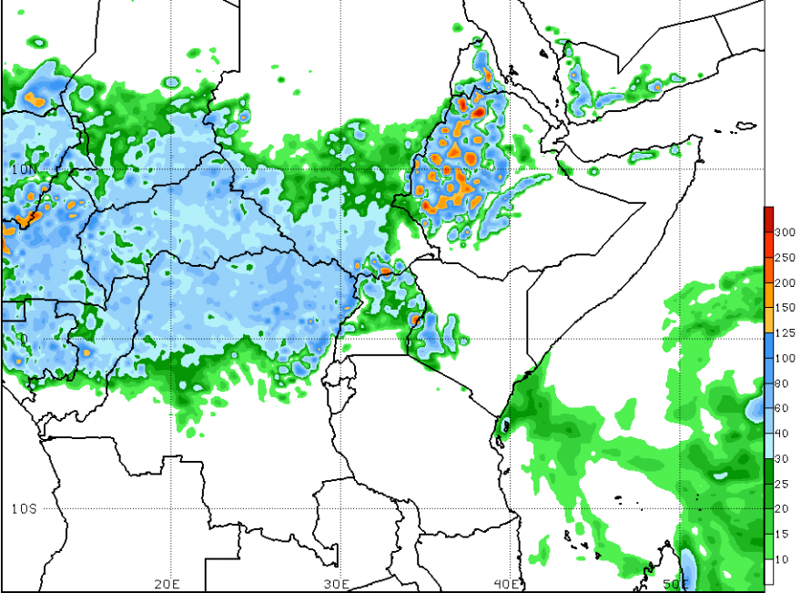 Figure 3. Week 2 GFS-Rainfall forecast (mm),  Valid until September 1, 2016