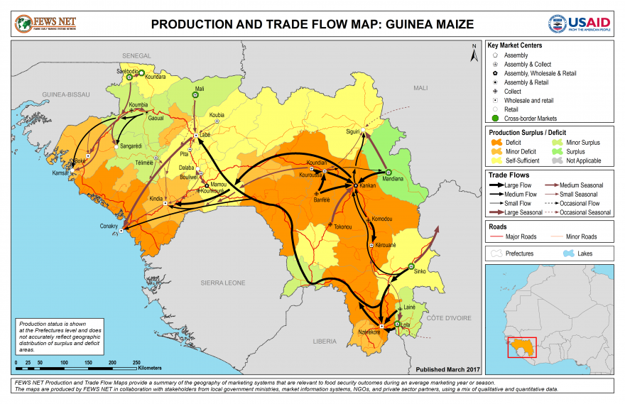 Guinea Maize Production and Trade Flow Map