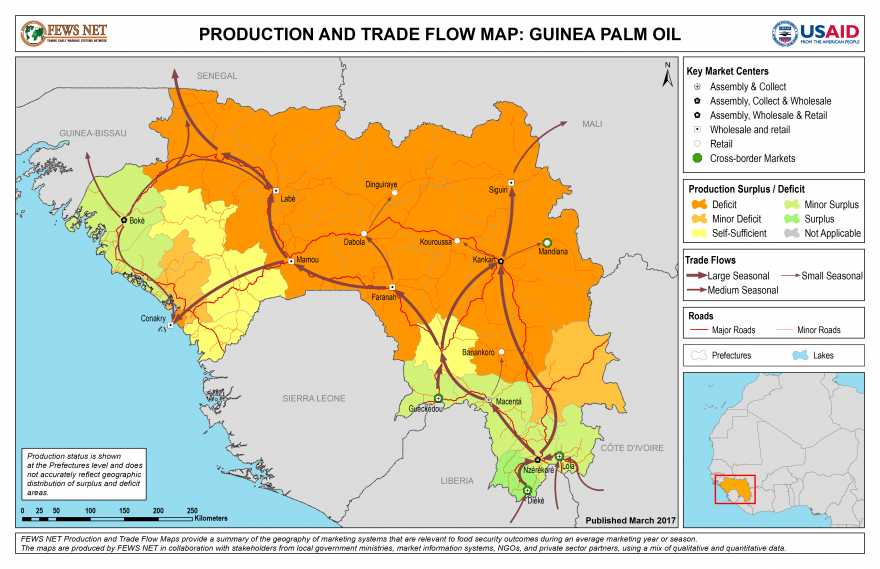 Guinea Palm Oil Production and Trade Flow Map