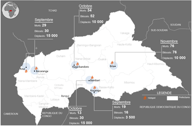 Figure 1. Areas affected by security issues since September 2016