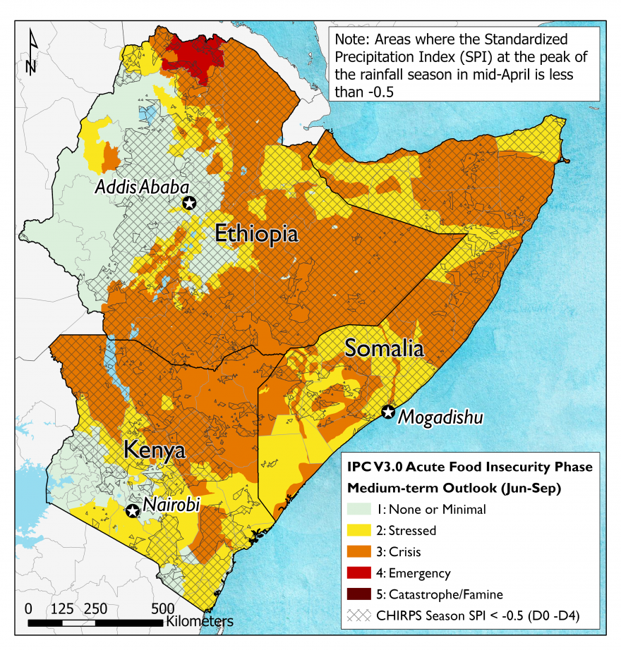 Map of Ethiopia, Somalia, and Kenya depicting drought conditions observed in April 2021 and projected food security outcomes in June-September 2021