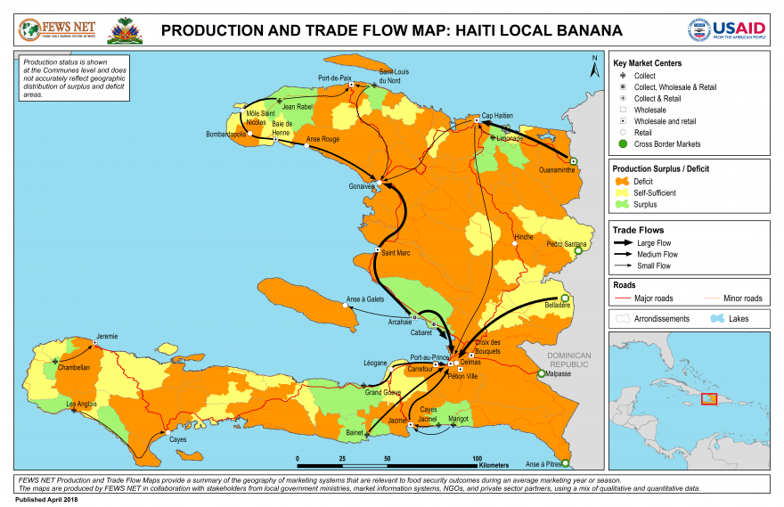 Haiti, Banana Production and Trade Flow Map