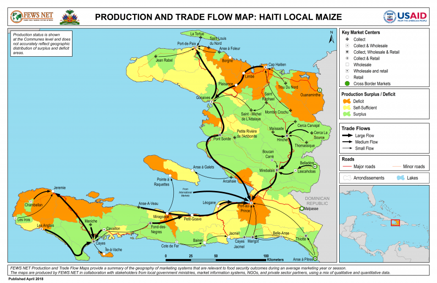 Haiti, Maize Production and Trade Flow Map