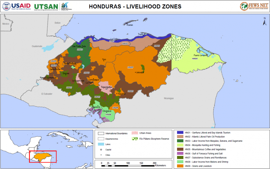 Map of livelihood zones in Honduras, 2015