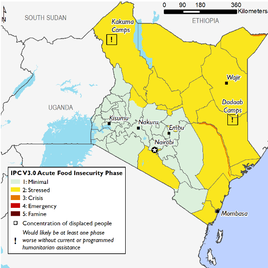 Current food security outcomes, June 2020. Northeastern, northern, and eastern Kenya are Stressed (IPC Phase 2). Tana Riverine and Mandera Riverine Livelihood zones are in Crisis (IPC Phase 3).