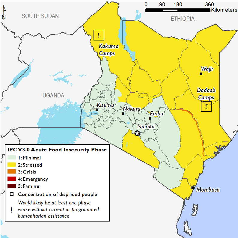 Map showing food security outcomes in Kenya in February 2020