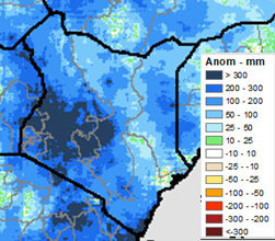 In both unimodal and bimodal areas, cumulative rainfall through August 15 has exceeded seasonal averages, with positive anomalies ranging from 100-300 mm across most of the country.  Some areas of the Lake Victoria basin and coastal Kenya accumulated more than 300 mm above-average rainfall.