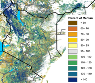 Map of Normalized Difference Vegetation Index (NDVI) of Kenya from August 11-20, 2020. Most of the country has 105-120 percent of median NDVI.