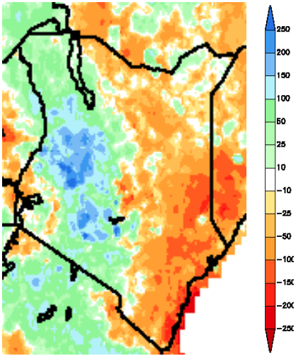 Figure 1: Rainfall anomaly in millimeters (mm) from March 1 to May 29, 2012